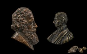 Two Antique Bronze Portrait Miniatures, one of a gentleman wearing a beard, with an impressed