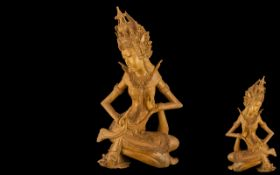 Oriental Finely Carved Wooden Figure of a Lady. Wonderfully carved lady, superb quality throughout.