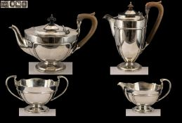 Art Nouveau Design Superb Quality Sterling Silver ( 4 ) Piece Tea Service.