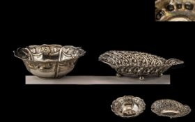 Two Silver Antique Sweet Dishes. Two decorative and ornate silver dishes, 5'' in diameter and 4.