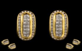 18ct Yellow Gold Stunning Pair of Attractive Diamond Set Earrings, Wonderful Design. Each Earring