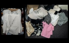 Collection of Ladies Quality Clothing, comprising Sommermann gold and black long blouse size 12;