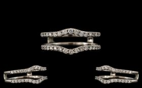 Contemporary Designed 14ct White Gold - Excellent Quality Diamond Set Engagement Ring of Pleasing