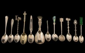 A Good Collection of Silver Spoons - Some Signed ( 12 ) Spoons In Total. Comprises 1/ Celtic