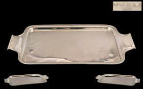 Art Deco Period Excellent Quality Sterling Silver Small Sized Twin Handle Drinks Tray of Pleasing