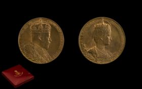 Edward VII - Large 1902 Copper Coronation Medal, Engraved G.W.