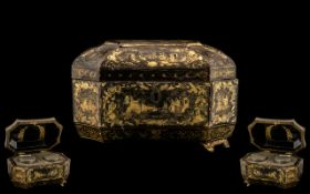 Early 19th Century Chinese Canton Export Lacquered Shaped Tea Caddy,