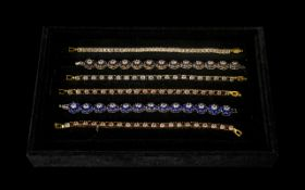 18ct Gold Plated Tennis Bracelets ( 6 ) In Total. With Various Different Beautiful Coloured Stones.