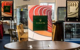 Rolex Official Shop Window Display Stand, made of perspex and coloured leather overlay design.
