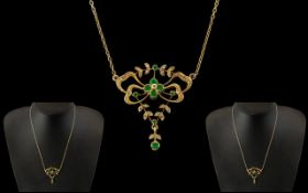 Antique Period Style Ladies 9ct Gold Emerald and Diamond Set Pendant and Integral Chain.