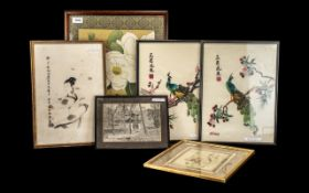 Collection of Six Chinese Pictures & Embroideries. Comprises: Large framed and glazed embroidery