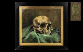 Unusual Antique Oil on Board Memento Mori Painting, still life of human skull,