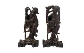 Pair of Carved Wooden Chinese Figures. Figures Stand at 6 Inches High. Please See Photo.