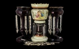 Pair of Red Cranberry Lustres. Victorian Lustre in cranberry, large and impressive, needs some