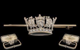 Antique Period - Superb 9ct White Gold and Platinum Diamond Set Coronet Brooch, In Original Box.
