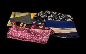 Collection of Vintage Designer Scarves, six in total, comprising: Santini, rolled edges, 27.5''