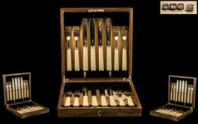 Art Deco Period Edward VIII Top Quality ( 16 ) Piece Set of Silver and Bakelite Handled Fish