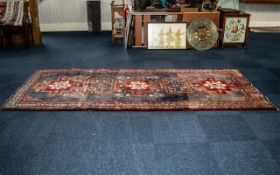 Vintage Washed Persian Hamadan Rug. Multi-coloured with a central cross medallion design. Made in