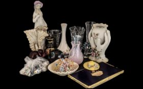 Mixed Collection Of Glass & Pottery To Include Spanish Figure, Coloured Glass Paper Weights, Clear