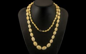 Antique Period Superb Quality - Long and Tactile Graduated Ivory Knotted Bead Necklace, Wonderful