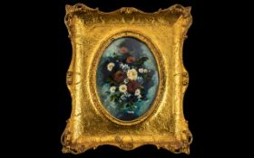 Oil on Board Still Life Painting in a gold gilt ornate frame, very decorative and well presented