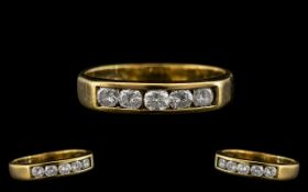 18ct Yellow Gold - Attractive Five Stone Diamond Ring with Full Hallmark For 750 - 18ct. The Five