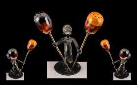 Unusual Art Deco Blackamoor Bronze Figure Salt & Pepper.
