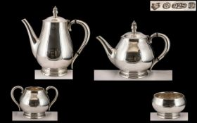Royal Danish - USA International Superb Contemporary Designed Sterling Silver ( 4 ) Piece Tea and