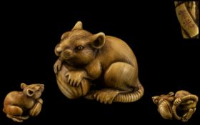 Japanese - Tokyo School Meiji Period Superb Quality and Signed Carved Ivory Netsuke - Depicting a