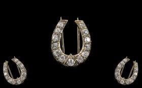 Edwardian Period - Superb 18ct White Gold Horse Shoe Diamond Set Brooch, Set with ( 13 ) Semi