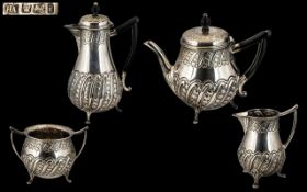 Aesthetic Influence Superb Quality Sterling Silver Bachelors ( 4 ) Piece Tea Service with Wonderful