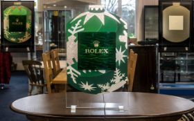 Rolex Official Shop Window Display Made of perspex and coloured leather overlay design. Supported on