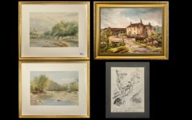 Pair of Watercolour Drawings of Cattle Crossing a River in landscape. Monogrammed H.J. Framed and