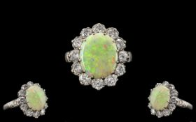 A Superb Quality 18ct White Gold - Attractive Opal and Diamond Set Dress Ring. Marked 18ct Gold. The