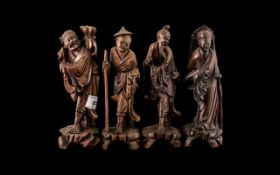 Collection of Four Antique Chinese Root Wood Carved Figures of Deities. Well carved and of fine