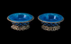 Pair of Antique French Blue Opaline Glass Table Bon-Bon Dishes,