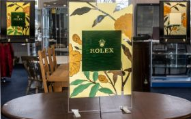 Rolex Official Superb Original Large Shop Window Display Stand, made of perspex and coloured leather
