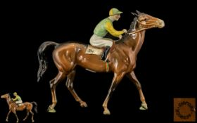 Beswick Hand Painted Jockey and Racehorse Figure - Racehorse and Jockey No 24 ' Walking Racehorse '