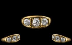 Superb 18ct Gold Three Stone Diamond Set Ring, the three cushion cut diamonds, of superb colour