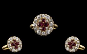 Mid Victorian Period - Superb Quality and Attractive 18ct Gold Ruby and Diamond Dress Ring. The Four
