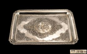 Edwardian Period Superb Quality Silver Embossed Tray,