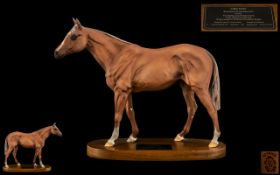 Beswick Hand Painted Champion Horse Figure - Connoisseur Series ' Grundy ' Racehorse of Year 1975,