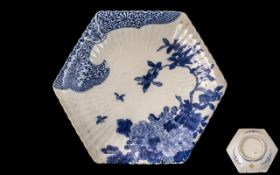 Japanese Meiji Period Hexagonal Shaped Fluted Dish decorated in under-glazed blue, depicting flowers