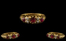 Edwardian Period 18ct Gold Attractive Ruby and Diamond Set Ring - Gallery Setting. The Three Faceted