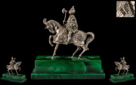 Austro-Hungarian Empire Late 19th Century Fine Quality Silver Figural Sculpture of a 15th Century