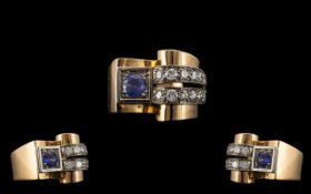 Art Deco - Designed Superb 18ct Gold Sapphire and Diamond Set Cocktail Ring - From the 1930's. The