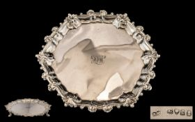 George IIII Superb Quality - Circular Silver Footed Salver, Raised on Spade Stepped Feet, Shell