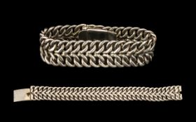 Heavy Sterling Silver Good Quality Weave Pattern Band Bracelet of Solid Construction with Concealed