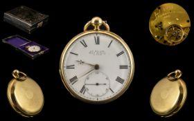 James McCabe Signed - Superb 18ct Gold Open Faced Key-wind Pocket Watch. Hallmark London 1851 -