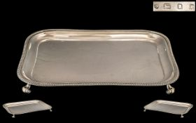 Victorian Period 1837 - 1901 Superb Quality Sterling Silver Rectangular Footed Tray ( Waiter Drinks